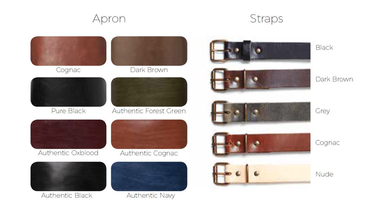 The colour possibilities which WITLOFT uses for the customization of apron straps