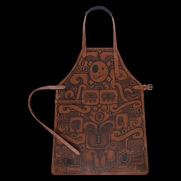 leather apron design flatlay